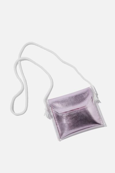 Crossbody Sling Bag, METALLIC PINK/ENVELOPE