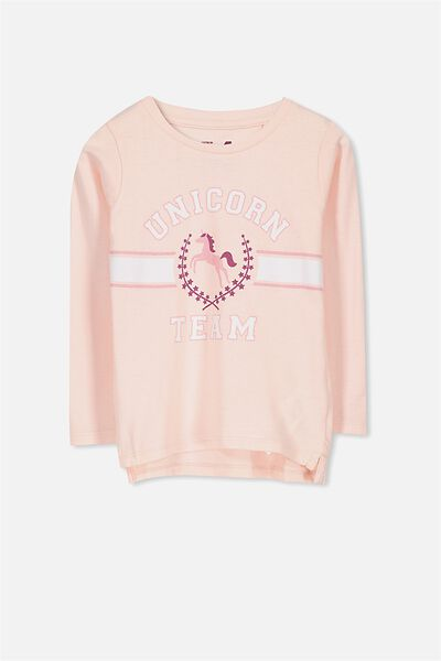Penelope Long Sleeve Tee, SHELL PEACH/UNICORN SQUAD/SET IN