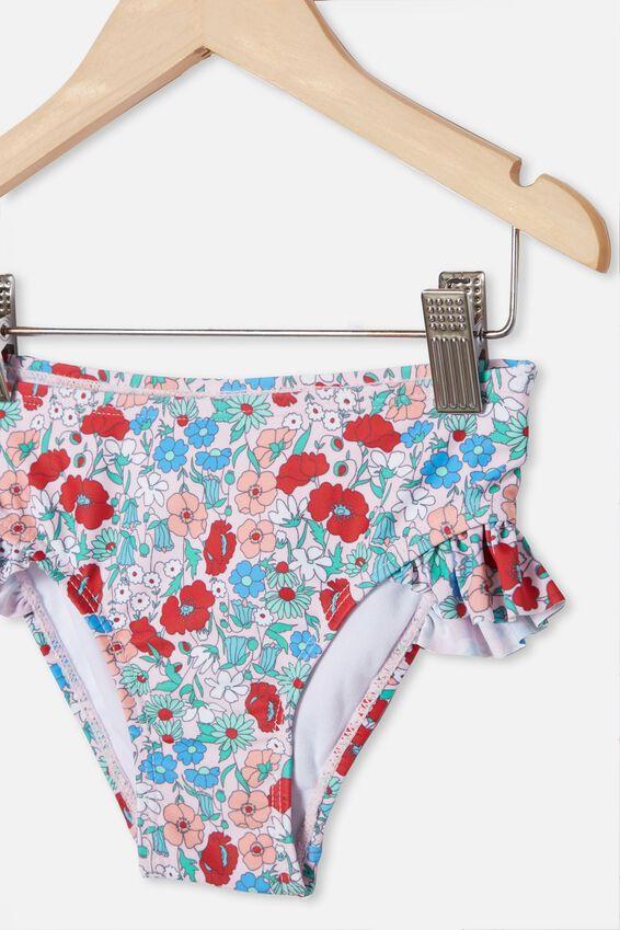 Pippa Ruffle Bikini Bottom, PINK QUARTZ/RED DITSY FLORAL