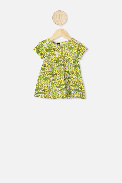 Milly Short Sleeve Dress, LCN MAY SOFT GREY MARLE/WATTLE BABIES