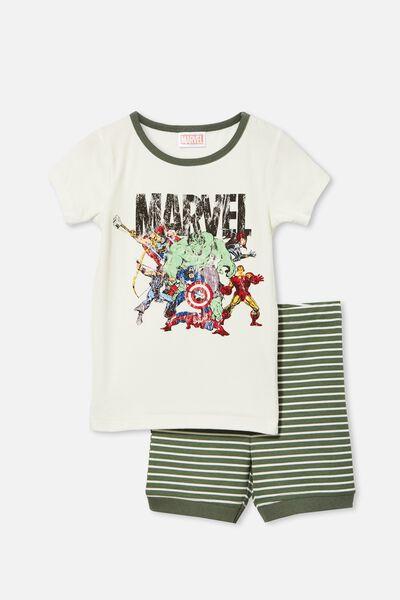Ted Short Sleeve Pyjama Set Licensed, LCN MAR MARVEL TEAM/VANILLA