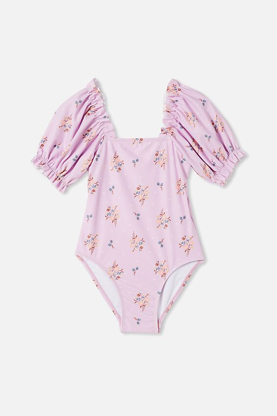 Paige Puff Sleeve One Piece, PALE VIOLET/POSEY FLORAL