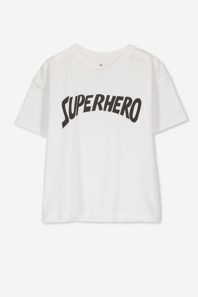 Penelope Ss Loose Fit Tee, WHITE/SUPERHERO