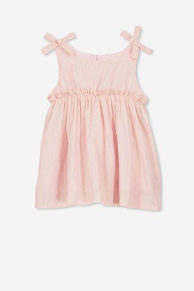 Daisy Dress, DUSTY PINK/GOLD STRIPE
