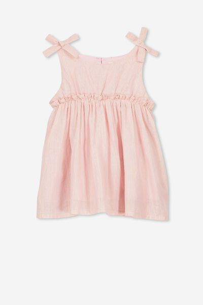 Daisy Dress, DUSTY PINK/GOLD STRIPE