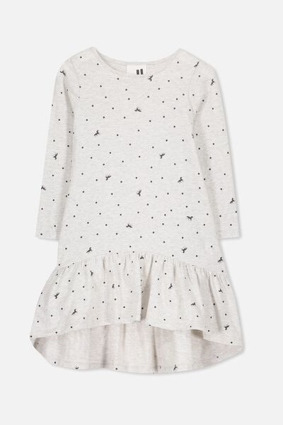 Joss Long Sleeve Dress, SUMMER GREY MARLE/UNICORN SPOT