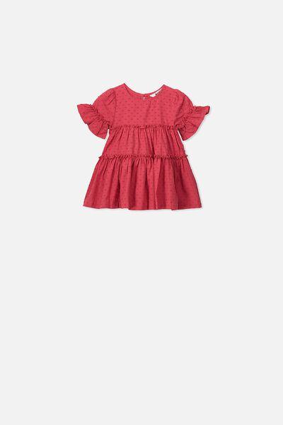 Abby Flutter Dress, LUCKY RED