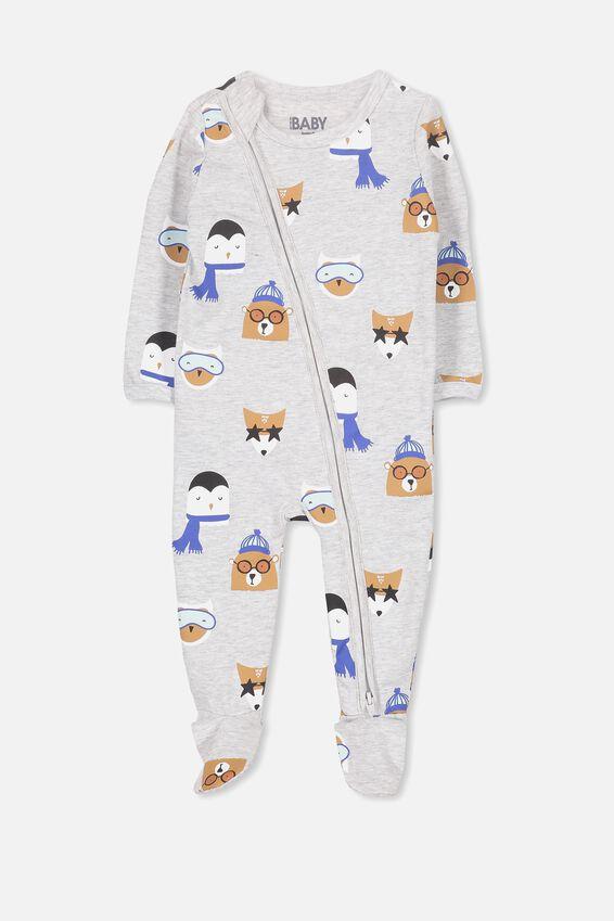 Sleep Mini Zip All In One Jumpsuit, CLOUD MARLE/SNOW BUDDIES