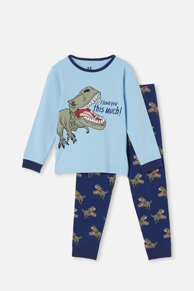 Boys Kids toddlers Blue Pyjama Set With Brown Dressing Gown Size 2-3 Years