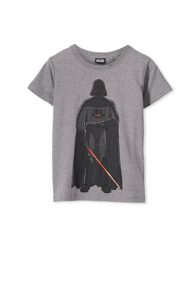 Boys Darth Vader Short Sleeve Tee, HAZE MARLE/DARTH BODY