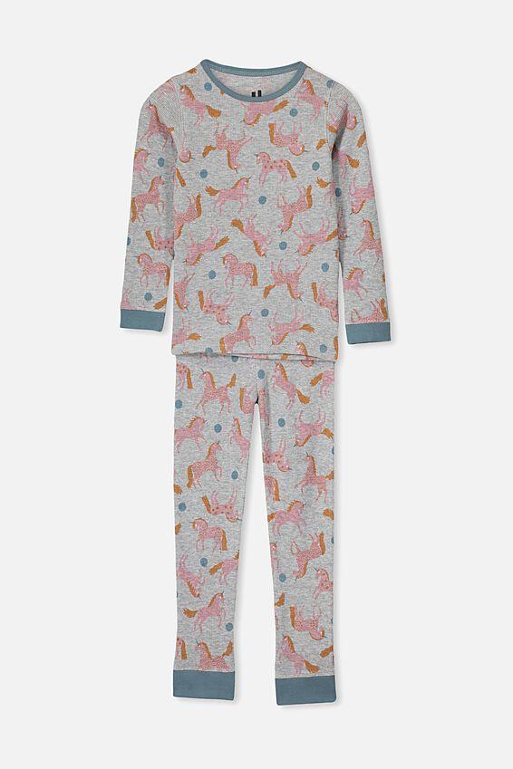 Shae Girls Long Sleeve Waffle Pyjama Set, PLAYFUL UNICORNS