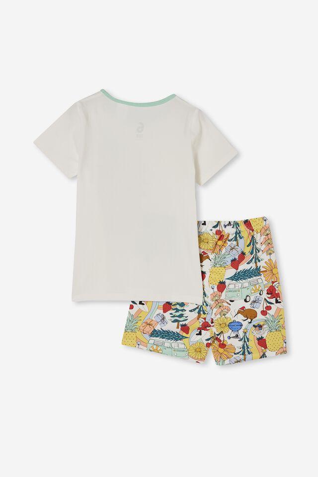 Hudson Short Sleeve Pyjama Set, KIWI XMAS/VANILLA