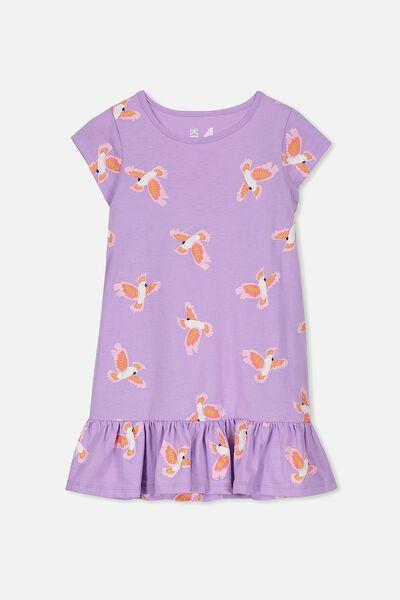 Elisha Short Sleeve Dress, LILAC BREEZE/COCKATOOS