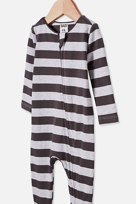 The Snug Long Sleeve Zip Romper, CLOUD MARLE/GRAPHITE GREY STRIPE