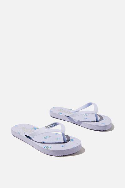 Printed Flip Flops, FROSTY BLUE FLORAL