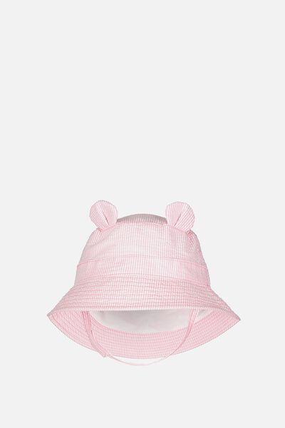 Baby Bucket Hat, PINK STRIPE