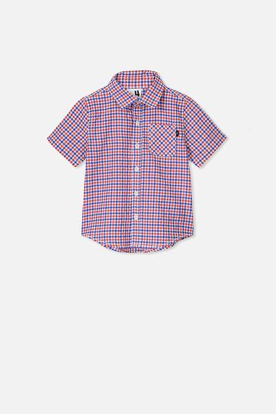 Resort Short Sleeve Shirt, RED/BLUE SEERSUCKER