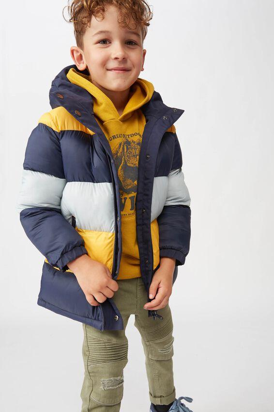 Anorak Reversible Puffer Jacket, NAVY/HONEY GOLD/CUMULUS GREY