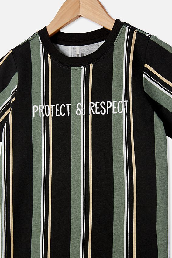 The Cruz Short Sleeve Long Line Tee Stripe, BLACK / PROTECT & RESPECT