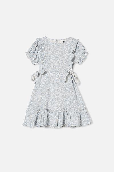 Beattie Short Sleeve Dress, DUSTY BLUE/FOLKLORIC FLORAL