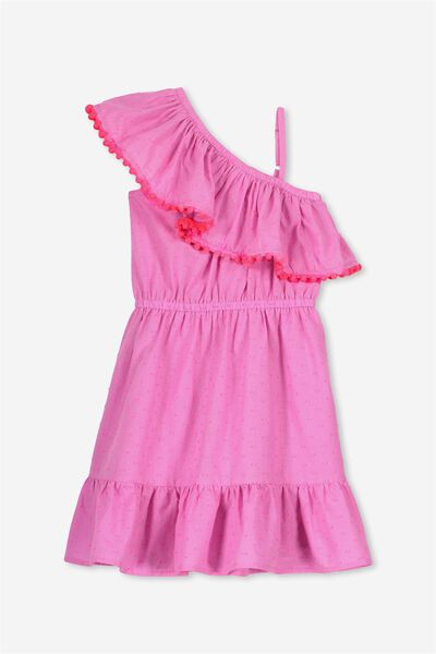 Edith Frill Dress, PINK GERBERA/DOBBY