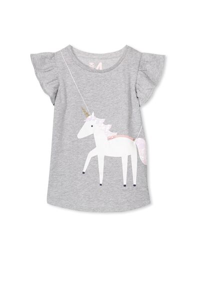 Anna Short Sleeve Flutter Tee, LIGHT GREY MARLE/UNICORN BAG