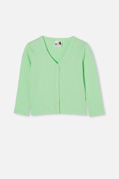 Betty Button Through Rib Top, WASHED SPEARMINT