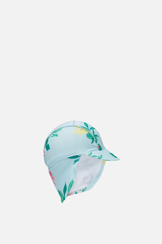 Newborn Sonny Swim Hat, FLORAL/TROPICAL