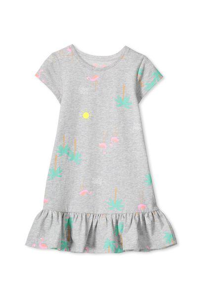 Elisha Short Sleeve Dress, LT GREY MARLE/FLAMINGO BEACH