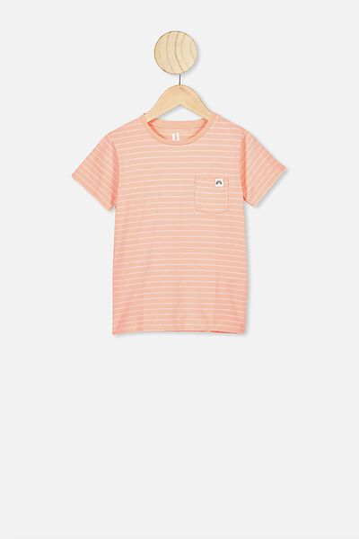 Core Ss Tee, PASTEL PEACH/WHITE STRIPE