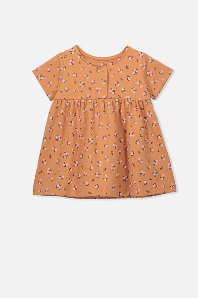 Milly Short Sleeve Dress, TERRACOTTA RUST/LUCY FLORAL