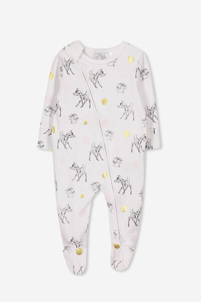 License Zip Through Romper, LCN DIS/WHITE/BAMBI AND THUMPER