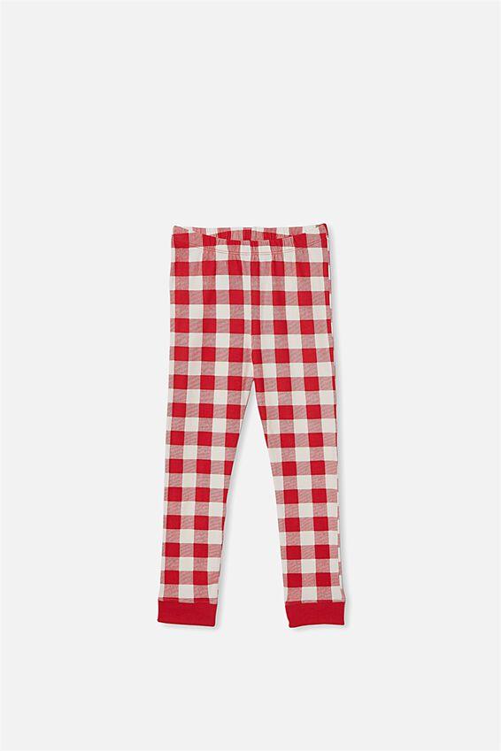Billie Kids Unisex Long Sleeve Pyjama Set, RED GINGHAM VANILLA