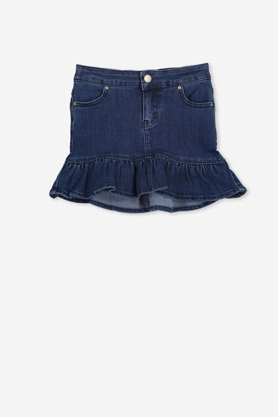 Kenzie Denim Frill Skirt, DARK BLUE WASH
