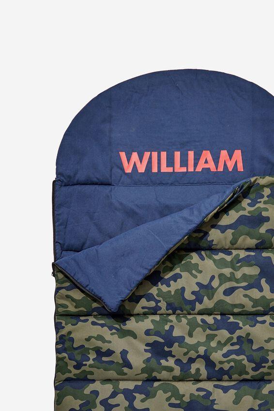 Personalised Slumber Party Sleeping Bag, DARK CAMO