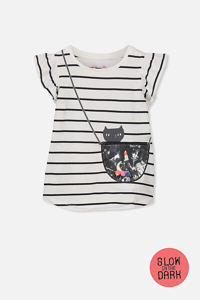 Girls Short Sleeve Halloween Tee, VANILLA/PHANTOM STRIPE/CAT AND BAG