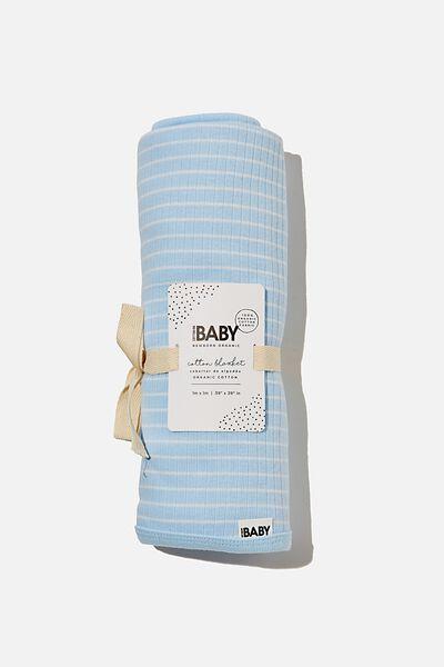 Organic Newborn Blanket, WHITE WATER BLUE/MILK SALLA STRIPE