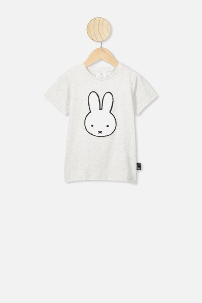 Lux Short Sleeve Tee, LCN MIF SUMMER GREY MARLE/MIFFY APPLIQUE