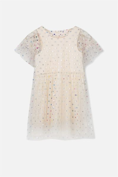 Indra Tulle Dress, PASTEL PEACH/RAINBOW SPOTS