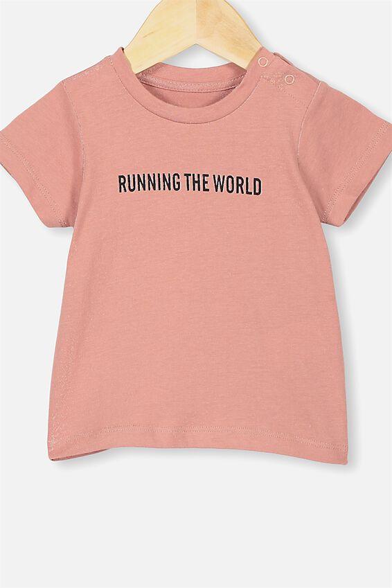 Jamie Short Sleeve Tee, CLAY PIGEON/RUNNING THE WORLD