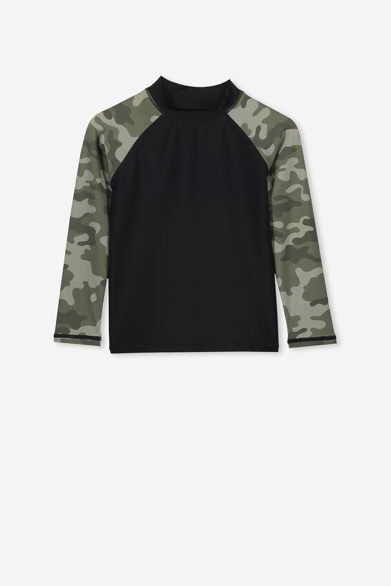 Flynn Long Sleeve Rash Vest, BLACK CAMO