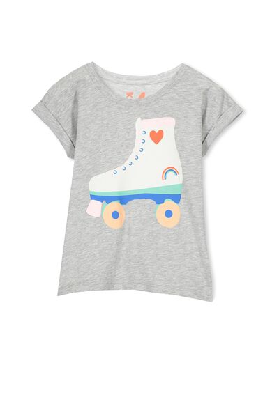 Penelope Short Sleeve Stepped Hem, LIGHT GREY MARLE/RETRO ROLLER SKATE