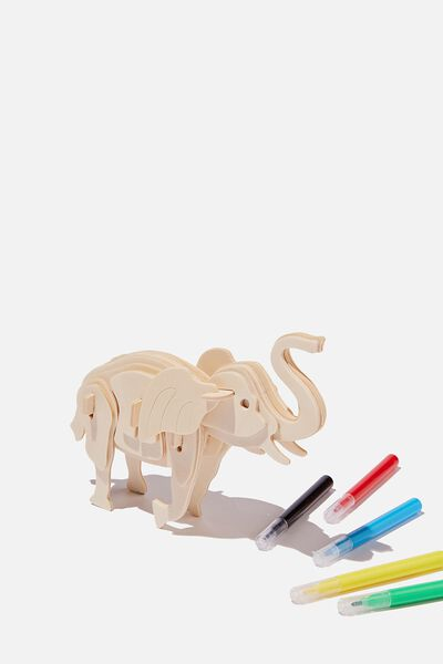 Wooden 3D Puzzle And Markers, ELEPHANT