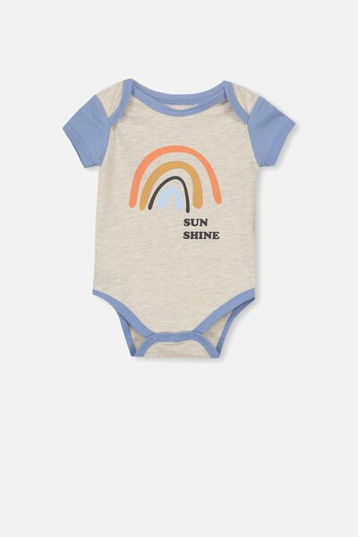 Mini Short Sleeve Bubbysuit, OATMEAL MARLE/WINTER RAINBOW
