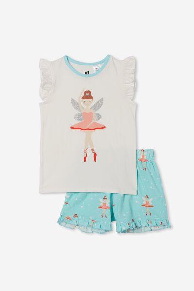 Stacey Short Sleeve Flutter Pyjama Set, BALLERINA FAIRY/DREAM BLUE
