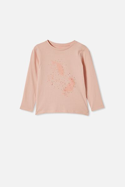 Penelope Long Sleeve Tee, PEACH WHIP UNICORN SET IN