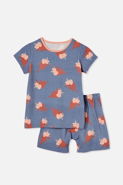 Hudson Short Sleeve Pyjama Set, DINO PARTY/STEEL
