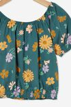 Daphne Puff Sleeve Top, TURTLE GREEN/TOPENGA FLORAL