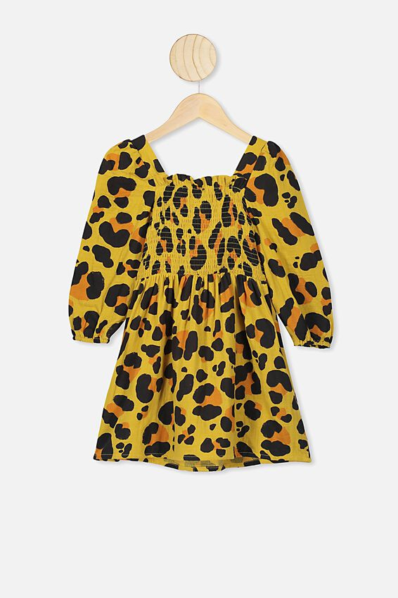 Kip&Co Long Sleeve Dress, KIP&CO/LEOPARD