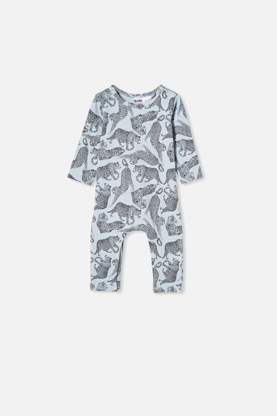 The Long Sleeve Snap Romper, FROSTY BLUE/CHARLIE CHEETAH